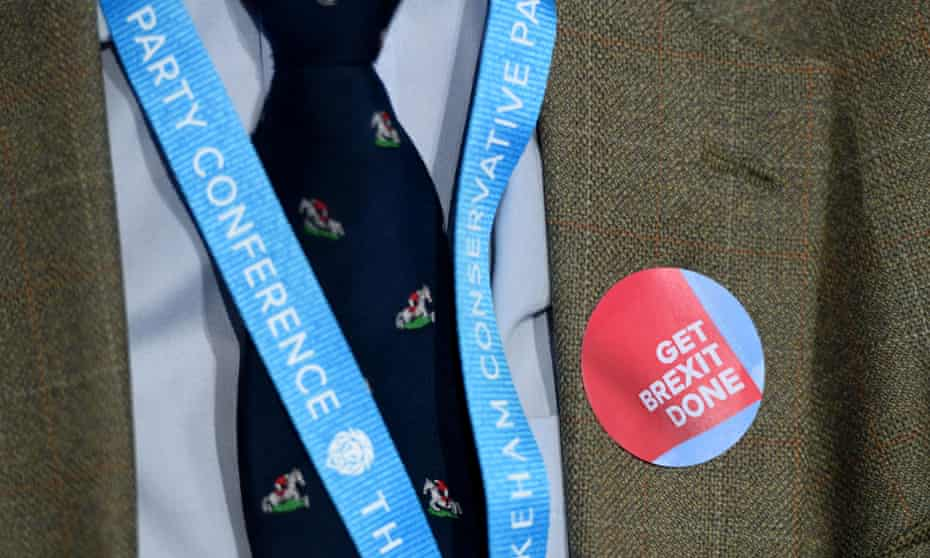 Lanyard and Brexit badge worn by a delegate at the 2019 Conservative party conference