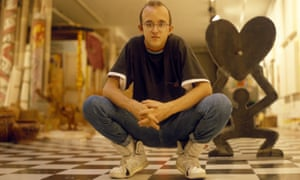 Keith Haring in the Stedelijk Museum, Amsterdam, 1986.