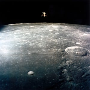 Apollo 12 Lunar Module Intrepid descends  to land on the Moon in 1969.