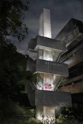 St Peters Seminary appears out of the woods.