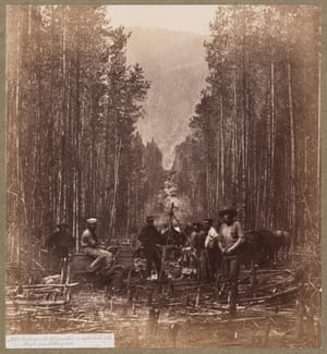 Royal Engineers, cutting on the 49th Parallel, on the right bank of the Mooyie River looking west, c. 1860