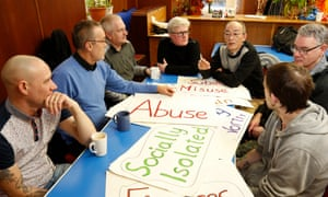 A group for men suffering from depression in Penicuik, Midlothian. The report highlighted efforts to combat loneliness with lunch clubs and befriending services.