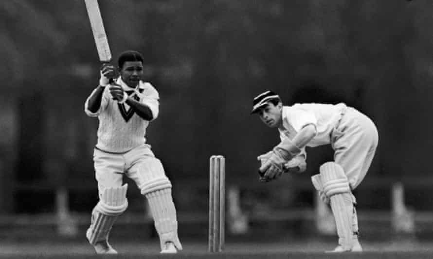 Everton Weekes playing for the West Indies against Cambridge University in June 1950. The wicketkeeper is WH Denman
