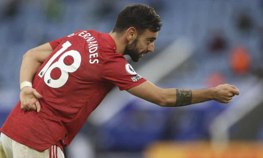 Manchester United's Bruno Fernandes celebrates after scoring his side's second goal against Leicester