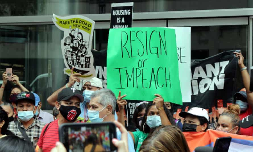 An anti-Cuomo protest in New York last week. If Cuomo is impeached, it will be only the second time in New York state history.