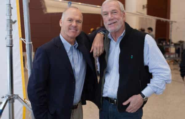Michael Keaton, left, with Boston Globe journalist Walter 'Robby' Robinson