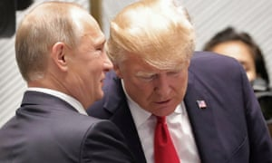 Donald Trump and Vladimir Putin at a previous summit in Vietnam. 'It's hard to overstate what an unequal match the Helsinki get-together will be.'
