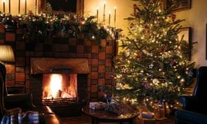 Fireplace and Christmas decorations at the Ballynahinch Castle Hotel, Galway, Ireland.
