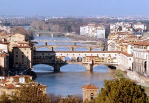 Ponte Vecchio spanning the Arno river in Florence, Italy