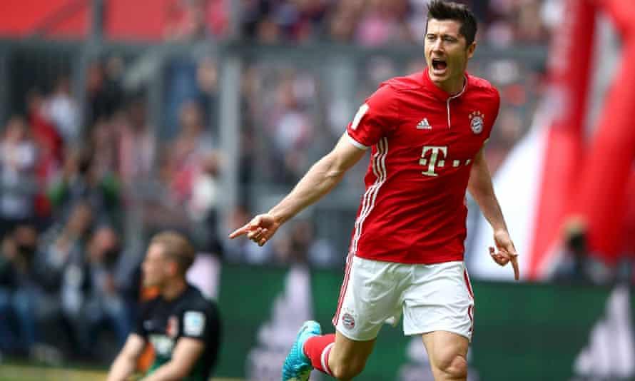 Bayern Munich's Robert Lewandowski celebrates scoring against Augsburg in the 6-0 victory.