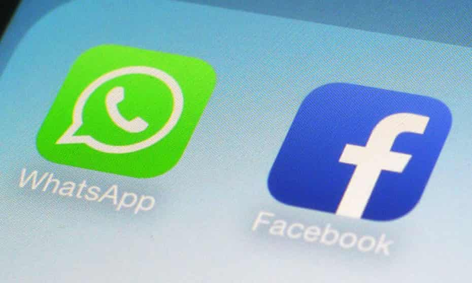Nudge nudge: the icons for WhatApp and its corporate owner, Facebook.