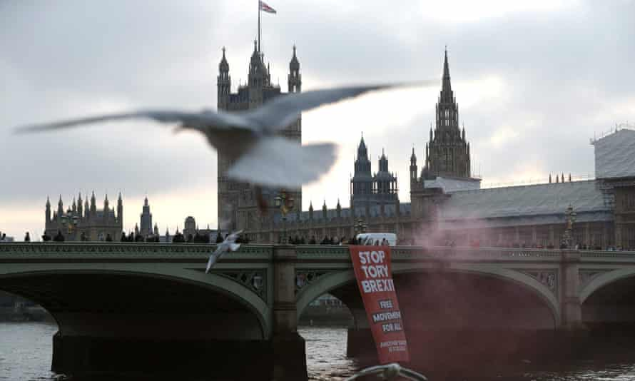 Anti-Brexit campaigners on Westminster bridge, 15 November.