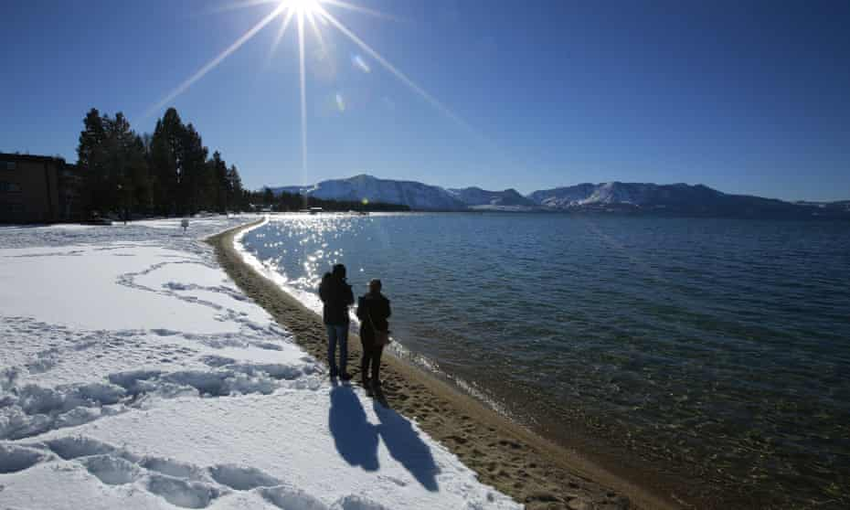 Tourists have continued to flood into the Lake Tahoe area this winter, despite a recent lockdown order.