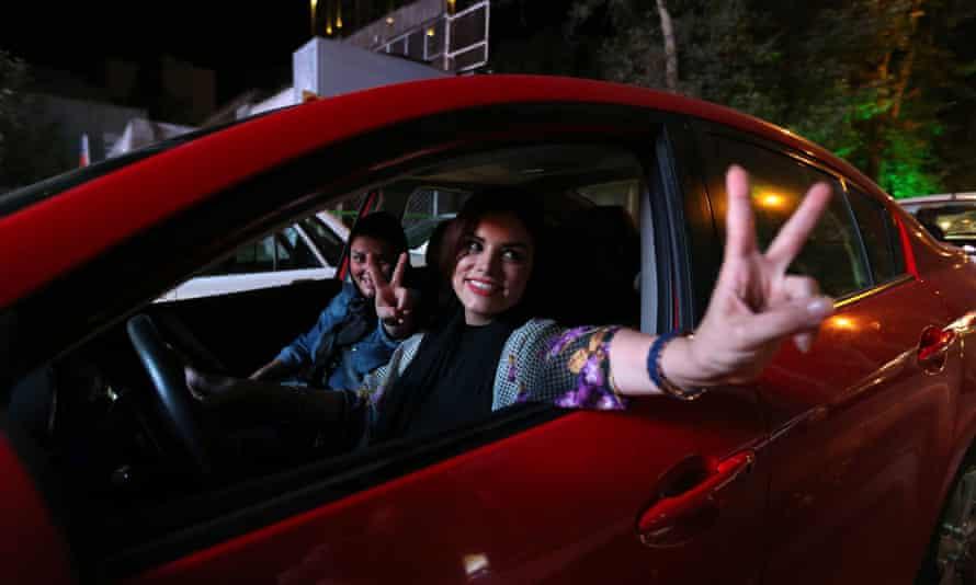 Iranian women inside a car in Tehran