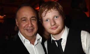 Blavatnik pictured with the singer Ed Sheeran at a party after the Brit Awards in February.