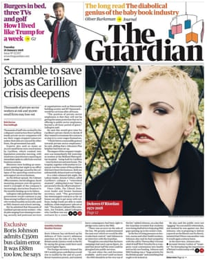 Guardian front page, Tuesday 16 January 2018