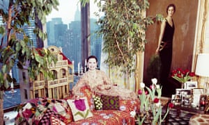 Gloria Vanderbilt in her Manhattan apartment in 1975. Beside her is a portrait of her mother, of whom she saw little as a child after a bitter custody battle in the 1930s.