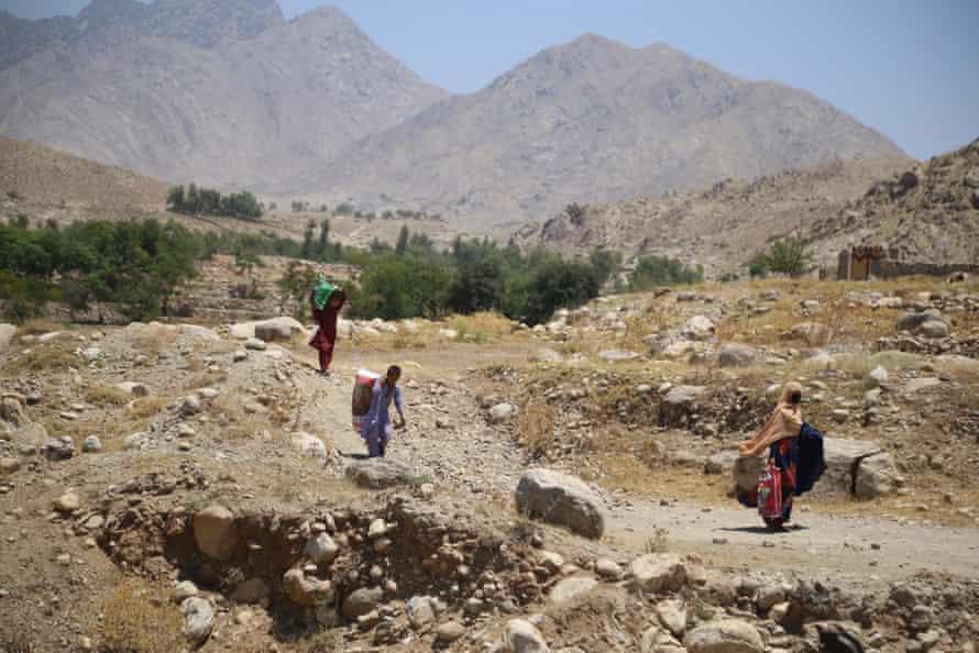 People flee areas taken over by Taliban militants in eastern Afghanistan.
