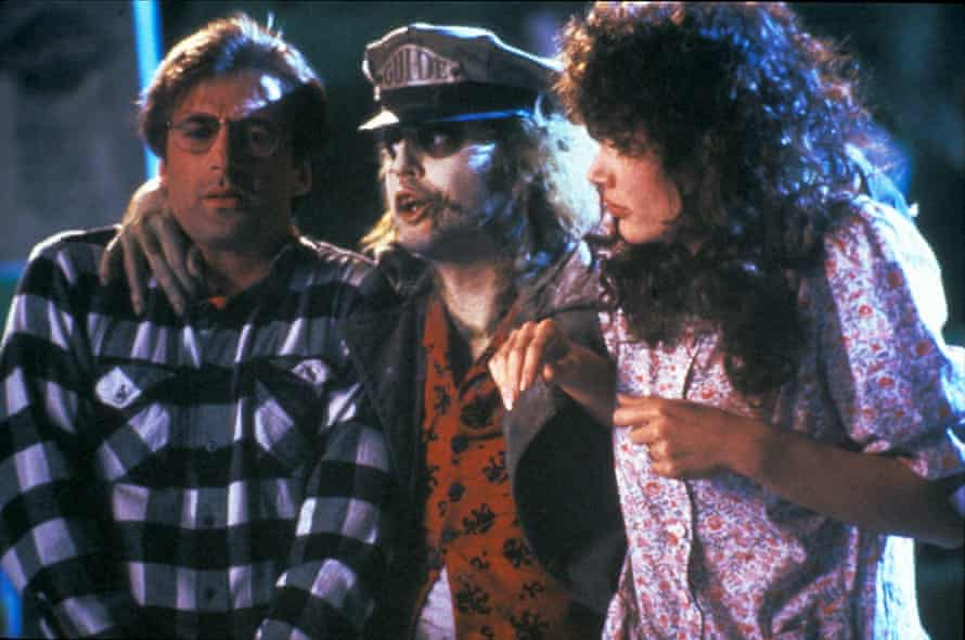 Davis with Alec Baldwin (left) and Michael Keaton in the 1988 film Beetlejuice.
