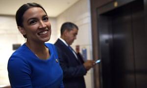 Alexandria Ocasio-Cortez on Capitol Hill in Washington Thursday.