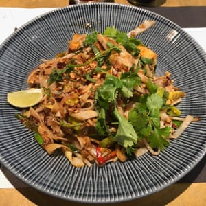 The yasai vegan pad thai at Wagamama, Gatwick Airport. Watery slop. 2/10. Could do better. See me.