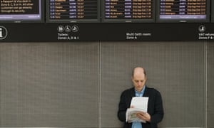 Alain de Botton makes notes during his week as writer-in-residence at Heathrow Airport in 2009.