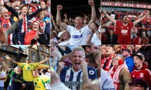 Clockwise from top left: Sheffield United, Leeds, Nottingham Forest, Middlesbrough, West Brom and Norwich fans have had plenty to cheer this season.