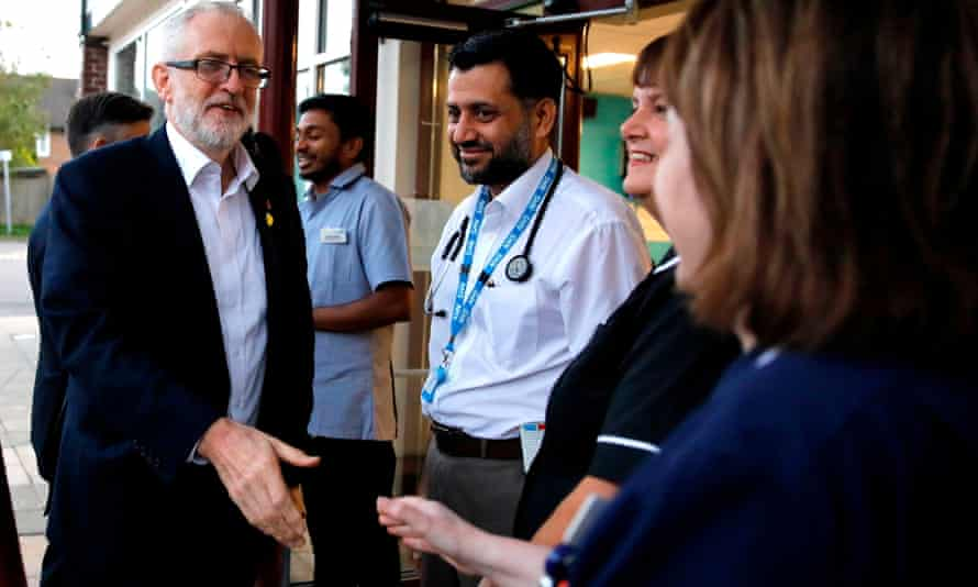 The Labour leader, Jeremy Corbyn, meeting NHS staff at Crawley hospital.