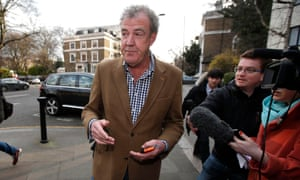 Jeremy Clarkson leaves his home before learning of his dismissal.