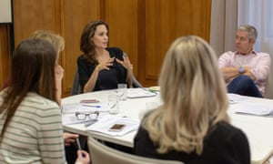 Angelina Jolie, in a meeting with the team ahead of her Today programme appearance.
