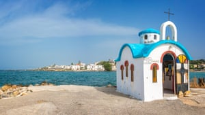 Colorful greek orthodox chapel by the sea near Chania in Crete, Greece.