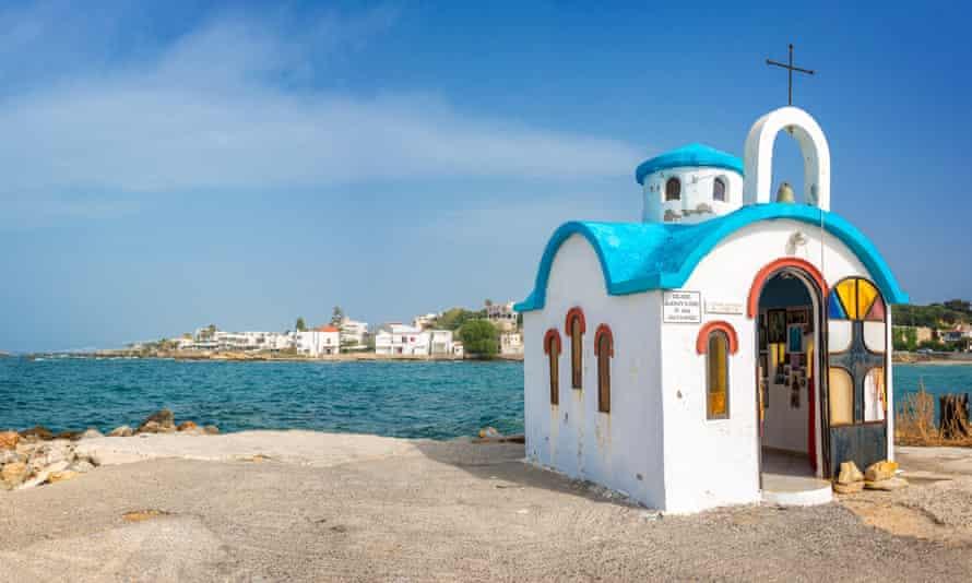 Greek orthodox chapel by the sea in Crete, Greece
