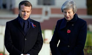 Emmanuel Macron and Theresa May at the Thiepval memorial in northern France to those who died in the first world war