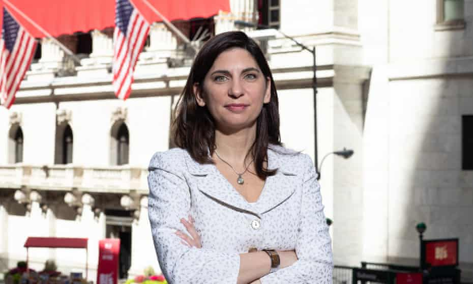 Stacey Cunningham outside the New York Stock Exchange