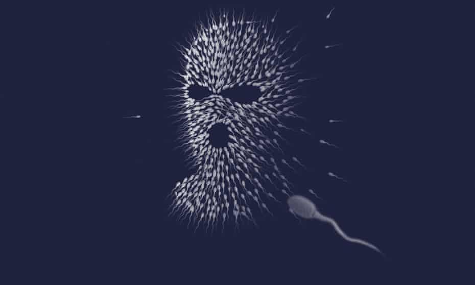 Illustration of man's head made of white sperm against dark background