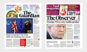 The new Guardian and Observer front pages