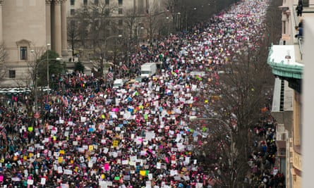 Demonstrators marching along Pennsylvania Avenue during the Women's March on Washington on 21 January