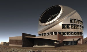 An illustration shows the proposed giant telescope on Mauna Kea.