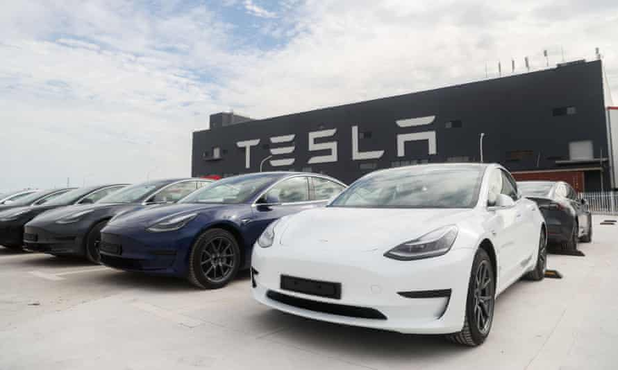 Tesla Model 3 cars at its factory in Shanghai, east China