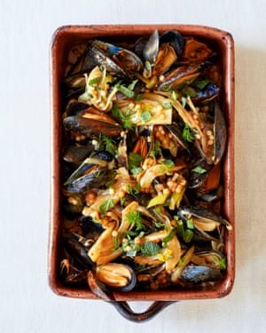 Rosie Sykes' baked mussels with tomato and fregola.