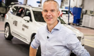 Erik Coelingh, Senior Technical Leader at Volvo Cars, with the very first autonomous XC90 that will be used in the Drive Me project in Gothenburg.
