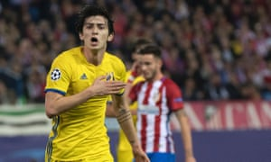Rostov's Sardar Azmoun celebrates after scoring during theChampions League Group D game against Atlético Madrid.