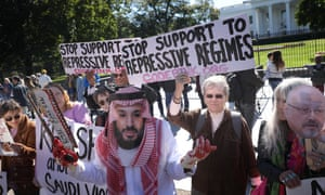 Demonstrators protest against Jamal Khashoggi's death outside the White House. Bob Corker said the US must make its own 'independent, credible' determination on what happened.