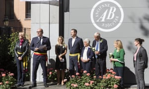 Brussels mayor Philippe Close and Jo Cox's family at a ceremony to name a square in honour of the murdered MP.