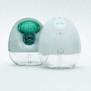 The Elvie breast pump, showing front and back views