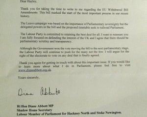 Diane Abbott's letter to her constituent, Hayley Dove.