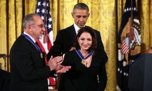 President Obama presents the Presidential Medal Of Freedom award to Emilio and Gloria Estefan.
