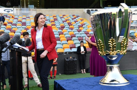 Annastacia Palaszczuk on 2 September at the announcement that Brisbane will host the AFL grand final.
