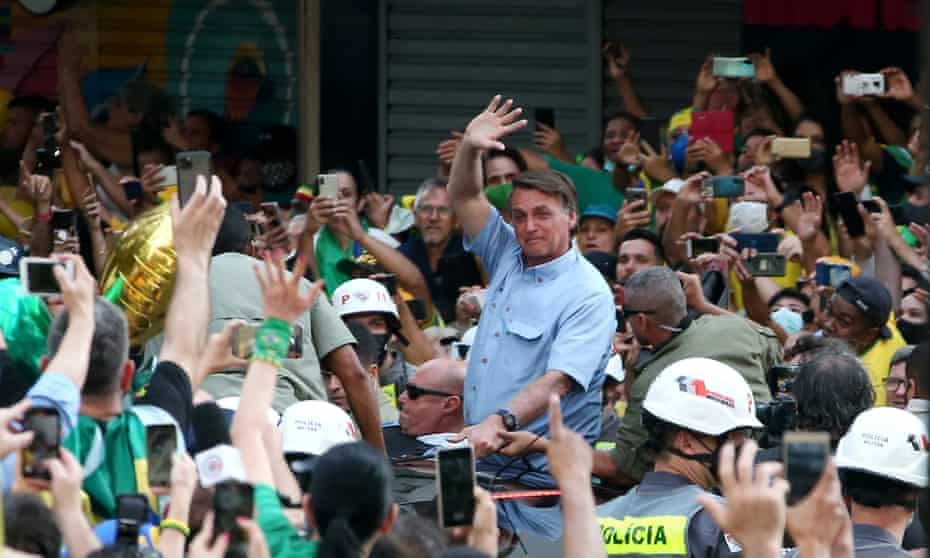 President of Brazil Jair Bolsonaro waves to supporters during a demonstration on Brazil's Independence Day in São Paulo.