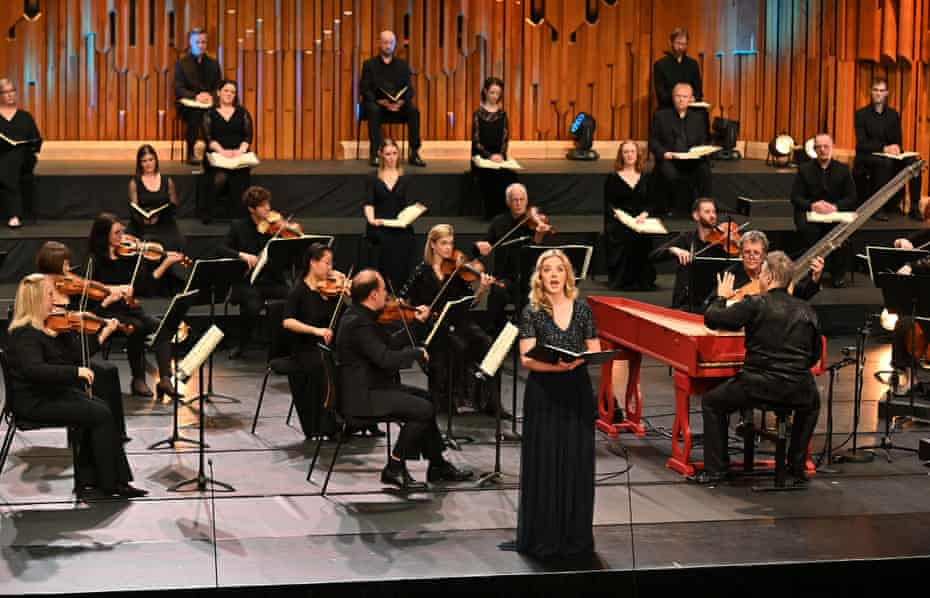Soprano Rowan Pierce with the Academy of Ancient Music directed from the keyboard by Richard Egarr at the Barbican, 19 December 2020.